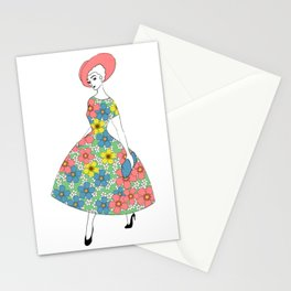 Parisienne - Summer dress with flowers Stationery Cards