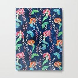 Merry Mermaids in Watercolor Metal Print
