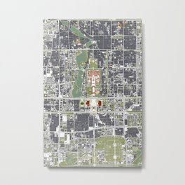 Beijing city map engraving Metal Print