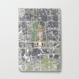 Beijing city map engraving Metal Print
