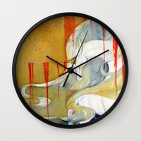 wasted rita Wall Clocks featuring Wasted Dream by Rubis Firenos