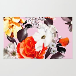 Photographic summer florals - D&G inspired - PINK Rug