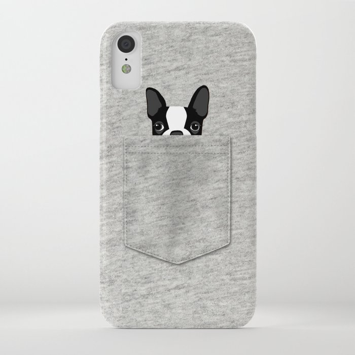 pocket boston terrier - black iphone case