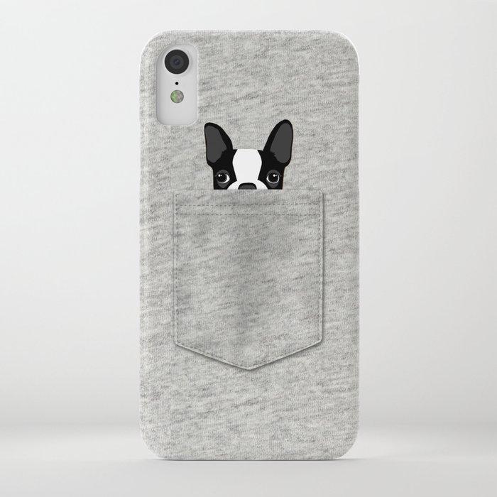 pocket boston terrier - black iphone case
