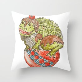 toad on a ball Throw Pillow
