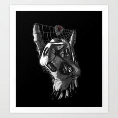 Zombie Horns on Black Art Print