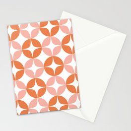 Mid Century Modern Motif Pattern in Burnt Orange and Blush Stationery Cards