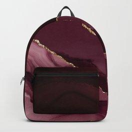 Burgundy Pink Geode & Gold Glitter Backpack