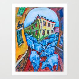 """""""Black cats are surprised to look at the blue cows in the city"""" Art Print"""