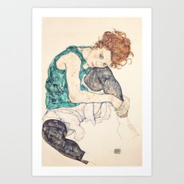 Sitting Woman With Legs Drawn Up Art Print