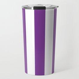 Cadmium violet - solid color - white vertical lines pattern Travel Mug