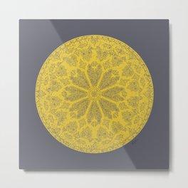 Ultimate Gray and Illuminating Yellow Rose Window Metal Print