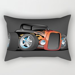 30's Street Rod with Classic Hot Rod Flames Cartoon Rectangular Pillow