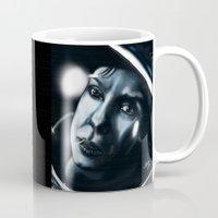 sandra dieckmann Mugs featuring Sandra bullock in Gravity by Jamie Briggs