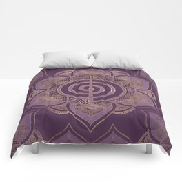 Reiki Cho Ku Rei - pastel and gold Comforters