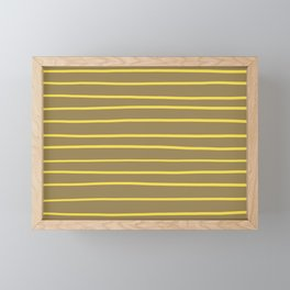 Yellow and Brown Minimal Stripe Pattern 2021 Color Of The Year Illuminating & Fennel Seed Framed Mini Art Print