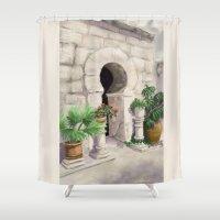 arab Shower Curtains featuring Arab Baths Palma de Mallorca DP151029b-14 by Cyndi Steen