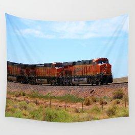 Orange BNSF Engines Wall Tapestry