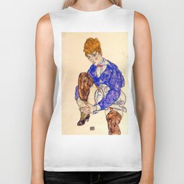 "Egon Schiele ""Portrait of the Artist's Wife Seated, Holding Her Right Leg"" Biker Tank"