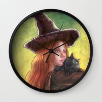 witch Wall Clocks featuring Witch by Miguel Angel Carroza