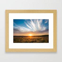 Grand Exit - Golden Sunset on the Oklahoma Prairie Framed Art Print