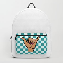 Blue Checkered Female Shaka Backpack