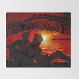 Silhouette Pair Sunset Tree Longing Love Throw Blanket