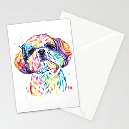 Shih Tzu / Shihtzu Watercolor Pet Portrait Painting By Lisa Whitehouse Stationery Cards