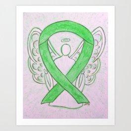 Lime Green Awareness Ribbon Angel Art Art Print