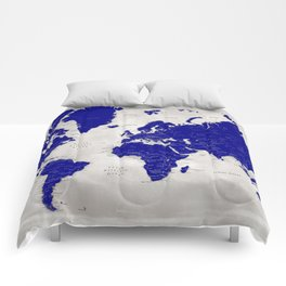 "Navy blue and grey detailed world map, ""Delaney"" Comforters"