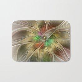 Golden Flourish, Abstract Fractal Art Bath Mat