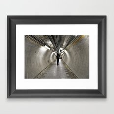 IN A LONDON UNDERGROUND TUNNEL Framed Art Print