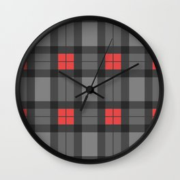 Red and Grey Tartan Wall Clock