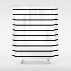 Thin Black Stripe Pattern Shower Curtain