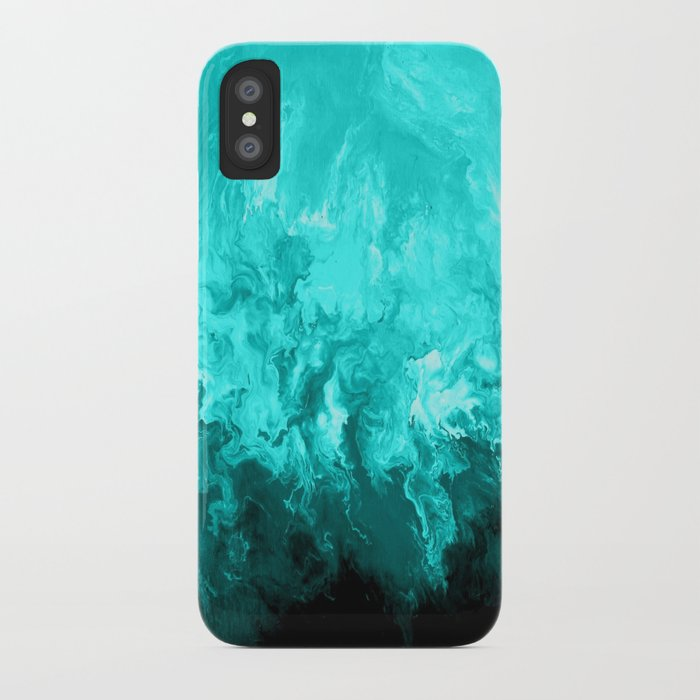 Teal - Fluid Abstract Art IPhone Case By Lizmoran