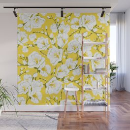 White freesia on a yellow background Wall Mural