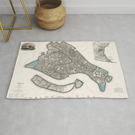 1838 Vintage Map of Venice, Italy Rug