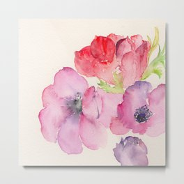 Red and Pink Anemones Metal Print