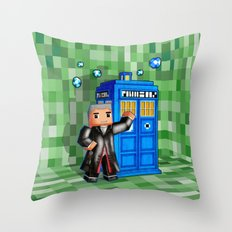 8bit 12th Doctor with Blue Phone box iPhone 4 4s 5 5c 6, pillow case, mugs and tshirt Throw Pillow