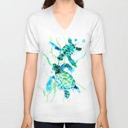 Sea Turtles, Turquoise blue Design Unisex V-Neck