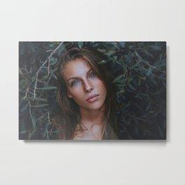 Beautiful Woman With Blue Eyes Metal Print