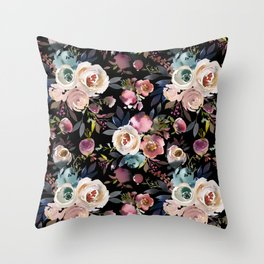 Pastel pink purple blue watercolor hand painted flowers Throw Pillow
