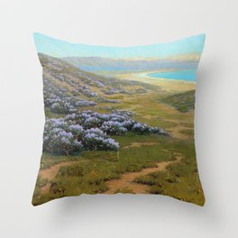 Monterey Dunes, Bush Lupine, California Coast by John Marshall Gamble Throw Pillow