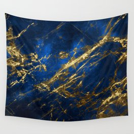 Blue Faux Marble With Gold Strike Veins Wall Tapestry