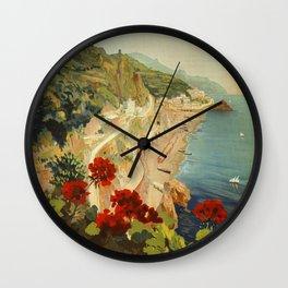 Vintage Travel Ad Amalfi Italy Wall Clock