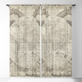 Antique world map with sail ships, sepia Sheer Curtain