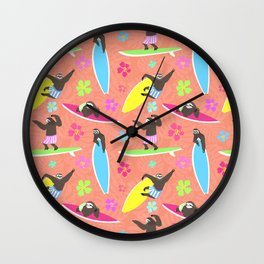 Surfing Sloths Wall Clock