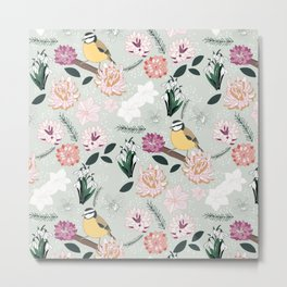 Joyful winter muted floral pattern with bird Metal Print