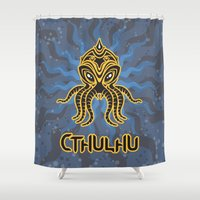 return Shower Curtains featuring Cthulhu return by Enrique Valles