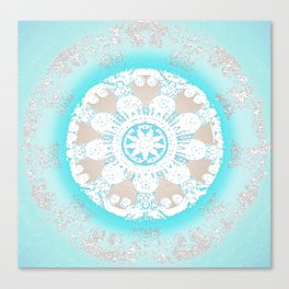 Soft Peace Aqua Mandala Canvas Print